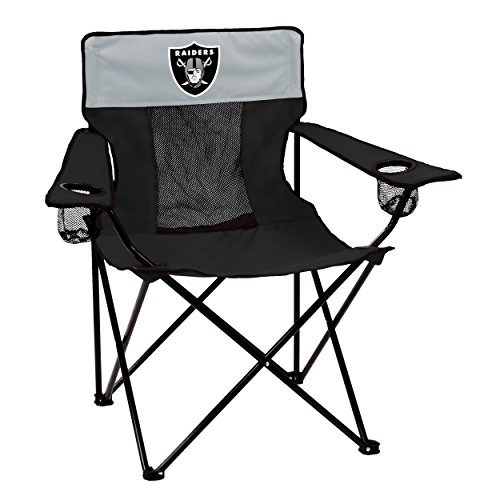 Logo Brands NFL Oakland Raiders  Folding Elite Chair with Mesh Back and Carry Bag ,  Charcoal,  One Size