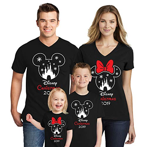 Natural Underwear Family Trip #1 Dad Mickey Mouse Matching Family Trip Head and Ears 2019 T-Shirts Cotton Mens V Neck T Shirts Black Men Large
