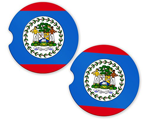 (Belize Flag Custom Car Coasters Cup Holder Matching Coaster)
