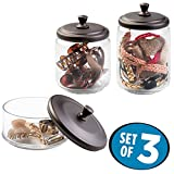 Bathroom Vanity Accessory Sets mDesign Hair Care and Accessories, Canisters for Bathroom Vanity to Hold Clips, Elastics, Bobby Pins, Barrettes - Set of 3, Clear/Bronze