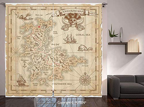 Thermal Insulated Blackout Window Curtain [ Ocean Island Decor,Old Ancient Antique Treasure Map with Details Retro Color Adventure Sailing Pirate Print,Cream ] for Living Room Bedroom Dorm Room Classr ()
