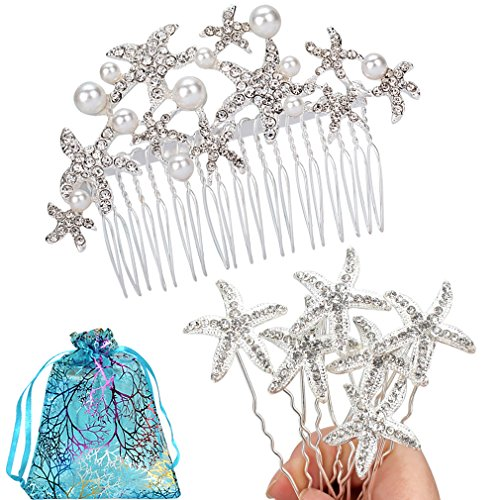 Jaciya Silver Starfish Wedding Comb with 6 Starfish Hair Pins Prom Wedding Bridal Bridesmaid Crystal Hairpiece Accessory
