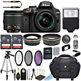 Nikon D3400 24.2 MP DSLR Camera (Black) with AF-P DX NIKKOR 18-55mm f/3.5-5.6G VR Lens Bundle Includes 64GB Memory + Filters + Deluxe Bag + Professional Accessories (25 Items)