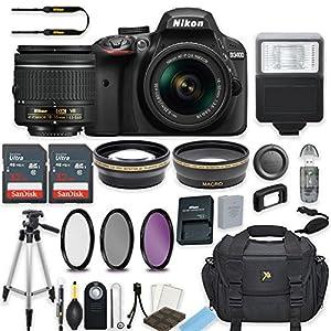 Nikon D3400 24.2 MP DSLR Camera (Black) with AF-P DX NIKKOR 18-55mm f/3.5-5.6G VR Lens Bundle includes 64GB Memory + Filters + Deluxe Bag + Professional Accessories (25 Items)