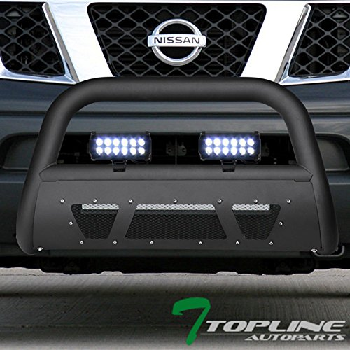 Topline Autopart Matte Black Studded Mesh Bull Bar Brush Push Front Bumper Grill Grille Guard With Skid Plate + 36W CREE LED Fog Lights For 05-18 Nissan Frontier / 05-07 Pathfinder / 05-15 Xterra