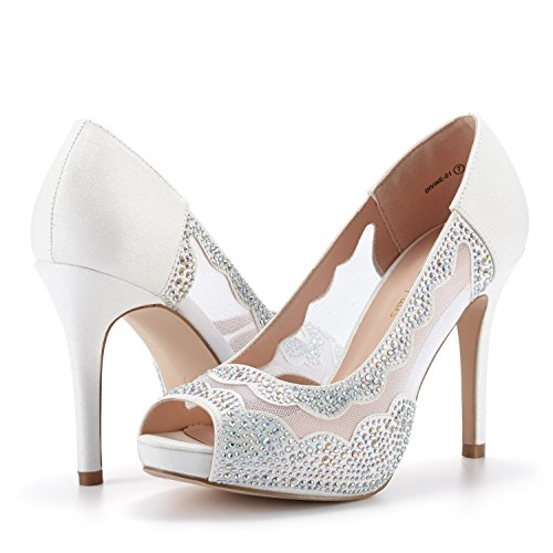 Dream Pairs Zapatillas Para Mujer De Tacón Alto Divine-01 Blancas