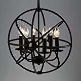 "Industrial Vintage Retro Pendant Light - LITFAD 17"" Edison Metal Globe Shade Hanging Ceiling Light Chandelier Pendant Lamp Ceiling Fixture Black Finish with 6 Lights"