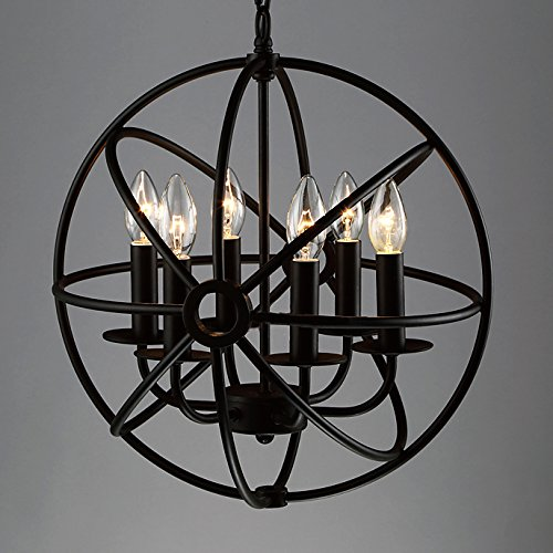 Industrial Vintage Retro Pendant Light   LITFAD 17  Edison Metal Globe  Shade Hanging Ceiling Light Chandelier Pendant Lamp Ceiling Fixture Black  Finish with  Farmhouse Lighting Fixtures  Amazon com. Farmhouse Lighting Fixtures. Home Design Ideas