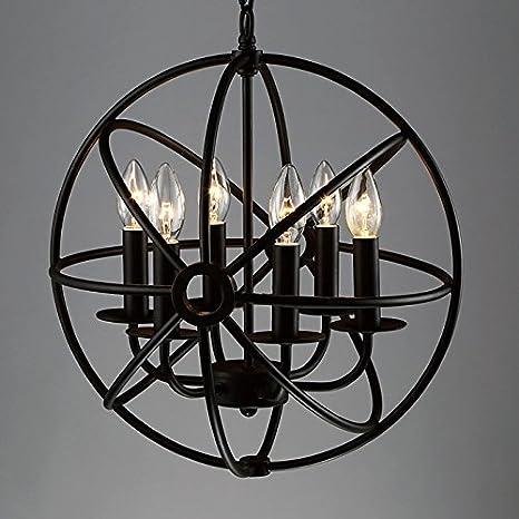 BAYCHEER Hierro forjado Globe - Lámpara de techo jaula Cage de la Industria lámpara E12/E14, diámetro de 42 cm Lámpara colgante 6 portalámparas ...