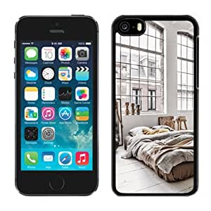 NEW Unique Custom Designed iPhone 5C Phone Case With Minimalistic Bedroom Large Windows_Black Phone Case