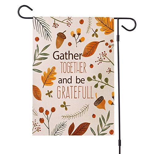 JYNHOOR Waterproof Double Sided Fall Thanksgiving Garden Flag for Yard Outdoor Décor- Autumn Harvest Maple Leaves/Acorn/Berry/Burlap Decorative Flag,12×18 Inch
