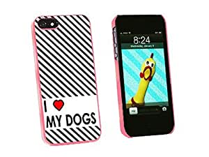 Graphics and More I Love Heart My Dogs Snap-On Hard Protective Case for iPhone 5 5s - Non-Retail Packaging - Pink