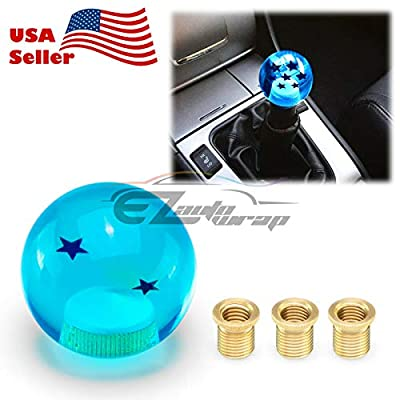 EZAUTOWRAP Universal Blue Dragon Ball Z 2 Star 54mm Shift Knob with Adapters Will Fit Most Cars: Automotive