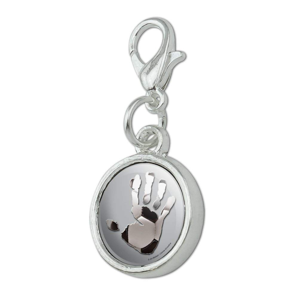 GRAPHICS /& MORE Hand Print Soccer Ball Get a Grip Antiqued Bracelet Pendant Zipper Pull Charm with Lobster Clasp