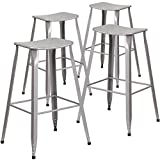 Flash Furniture 4 Pk. 30'' High Silver Metal Indoor-Outdoor Saddle Comfort Barstool