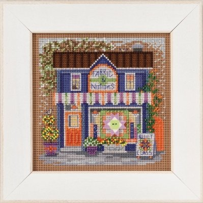 Fabric Shoppe Beaded Counted Cross Stitch Kit Main Street Collection Mill Hill 2017 Buttons Beads Spring - Cross Mill Kit Stitch