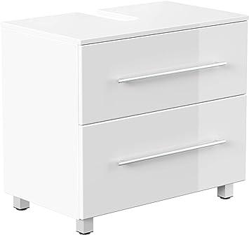 emotion meuble sous vasque 70 cm avec pieds blanc brillant