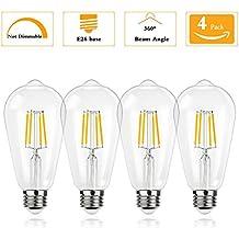 (pack of 4)Not-Dimmable 4 Watt ST64 Edison LED Bulbs(40Watt Incandescent Equivalent),4000K Natural White E26 Medium Base Bulbs 120V 400Lumens 360 Degree Indoor Outdoor Security Decorative Lighting