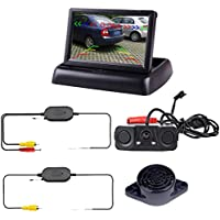 Podofo Wireless Car Backup Camera with 2 Parking Alarm Sensors Radar Detector & 4.3 LCD Rearview Monitor