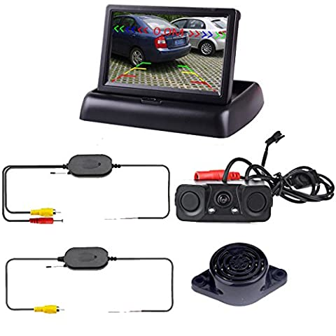 Podofo Wireless Car Backup Camera with 2 Parking Alarm Sensors Radar Detector & 4.3