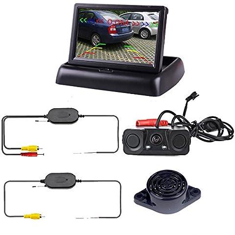 Podofo Wireless Car Backup Camera with 2 Parking Alarm Sensors Radar Detector & 4.3