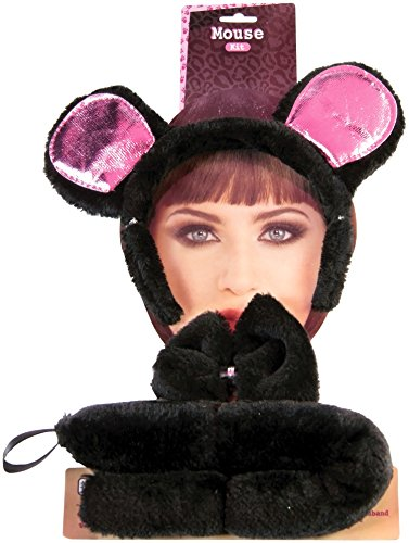 Rat Ears Costume (Forum Novelties Women's Mouse Accessory Kit, Black/Pink, One)