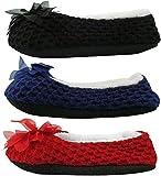 J.ANN Women's 3-Pack Cozy Slipper Sock, with Non Slip Bottom, Foot Size:24-25 cm (Black_Royal Blue_Red)