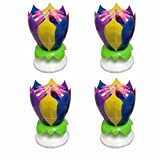 4PCS Set Music Birthday Candle Two Layers with 14 Small Candles Musical Lotus Rotating Happy Birthday Flower Candle (Colorful)