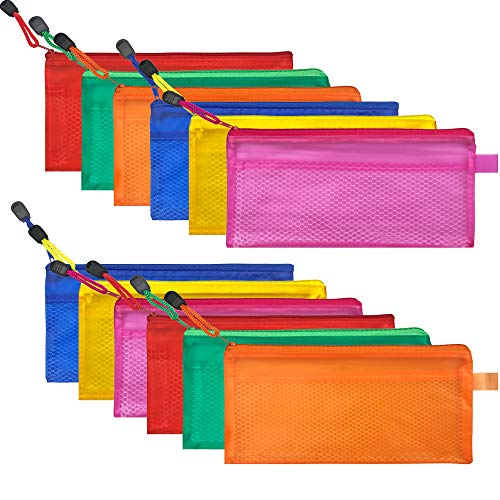 12 PCS 6 Colors Zipper Mesh Pouch Waterproof Transparent PVC Double Layer Zipper File Pencil Mesh Bag to Storage Stationery Supplies Cosmetics Travel Accessories ()