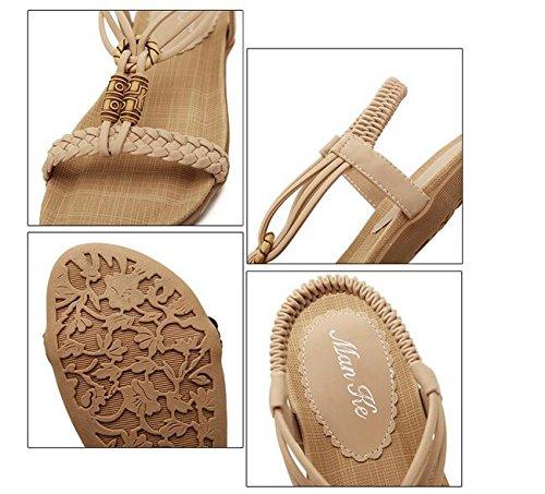 Newyork Aanbod Winkel Dames Bohemen Sling Sandalen Bloem Kralen Yoga Flip Flop Slingback Slipper Schoenen Flip-flop-beige 2