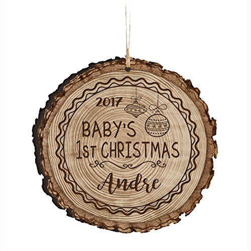 Personalized Baby's First Christmas Ornament 2017 New Parent gift ideas for newborn boys and girls Custom engraved ornament for mom dad and grandparents 3.75