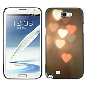Planetar® ( Heart Lights Blurry Pink White Night ) SAMSUNG Galaxy Note 2 II / N7100 Fundas Cover Cubre Hard Case Cover