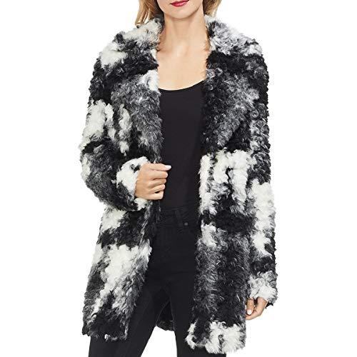 Vince Camuto Womens Winter Mid-Length Faux Fur Jacket Black-Ivory L