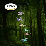 AceList 2 Pack Changing Color Butterfly Wind Chime, Spiral Spinner Windchime Portable Outdoor Decorative Romantic Windbell Light for Patio, Deck, Yard, Garden, Home, Pathway