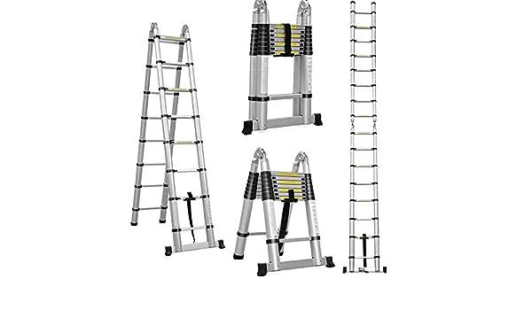 Escalera telescópica plegable de aluminio de 5 m (2,5 m + 2,5 m ...