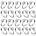 Whaline Silver Diamond Engagement Rings for Wedding Table Decorations, Party Supply, Favor Accents, Cupcake Toppers