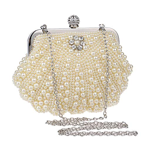Color Party Bridal Clutch Teenage Handbag Purse Dinner Frosted Beaded Evening Package Party Dress Bag Shell White Gold f6OSqfwCx