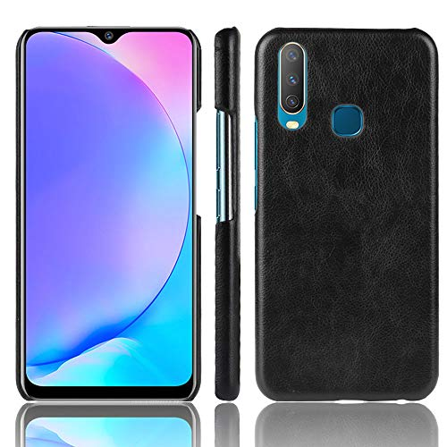 Happon Leather Case Compatible with Vivo Y17, One Genuine Leather Back Case for Vivo Y17 (Black)- Optimal Protection & Premium Leather Pouch Ultra Thin