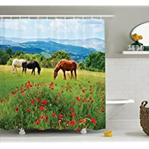 Ambesonne Animal Decor Shower Curtain Set, Various Kinds of Horses Eating Grass in The Field with Mountain Landscape Rural Scene Print, Bathroom Accessories, 69W X 70L inches, Multi