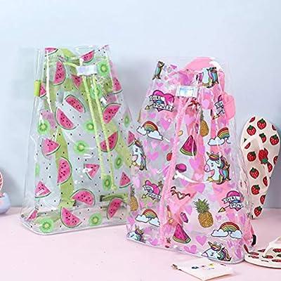 TENDYCOCO Unicorn Backpack Transparent School Bag Clear Drawstring Backpack for Girls Kids | Kids' Backpacks