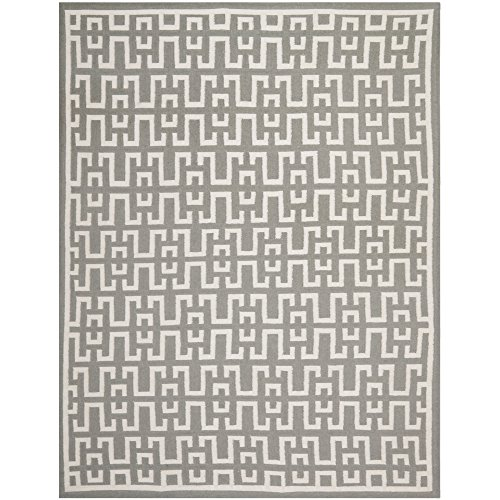 Safavieh Dhurries Collection DHU621B Hand Woven Soft Grey and Ivory Premium Wool Area Rug (5' x 8') (Furniture Weave Banana)