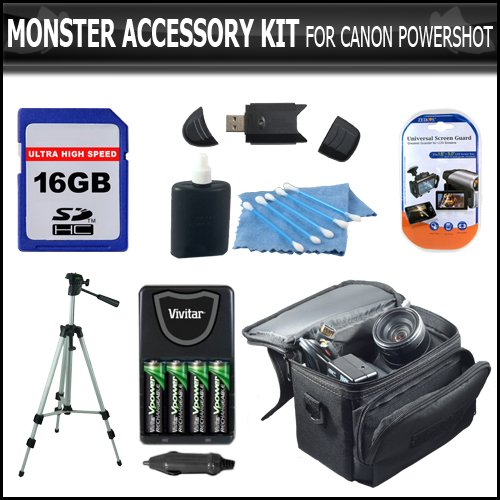 Card Speed 150x High Sd (16GB Accessory Kit For CANON POWERSHOT A1400, A1300, A810, SX160 IS, SX160IS IS SX150IS SX150 IS Digital Camera Includes 16GB Secure Digital High Capacity (SDHC) Card Class + Carrying Case + AA Battery & Charger + LCD Screen Protector + 50