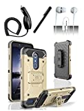 ZTE Grand X Max 2 Z988 Imperial Max Z963 Case Gold / Black Tactical Hybrid Armor Dual Layer Cover w/ Kickstand Holster + Car Charger + Stylus Pen + 3.5mm Earphone
