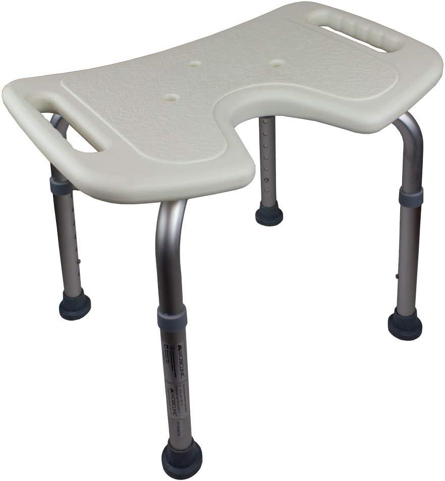 Mobiclinic, Bahía, Silla o taburete de baño, de ducha, ortopédica, altura regulable, respaldo, asiento en U, conteras antideslizantes