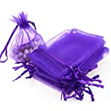 "Dealglad 50pcs Drawstring Organza Jewelry Candy Pouch Christmas Wedding Party Favor Gift Bags (5x7"", Purple)"