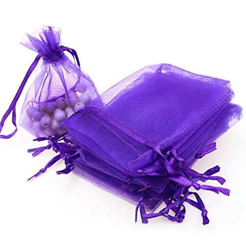 "Dealglad 100pcs Drawstring Organza Jewelry Candy Pouch Party Wedding Favor Gift Bags (3x4"", Purple)"