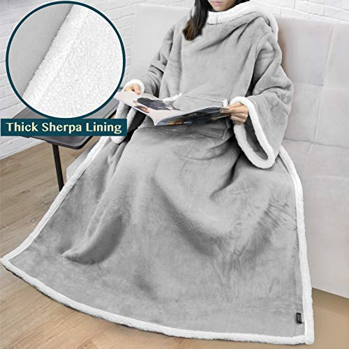 PAVILIA Premium Sherpa Fleece Blanket with Sleeves for Adult Women, Men | Cozy, Warm, Super Soft, Plush Wearable Throw for Couch, Sofa | Lightweight Microfiber (Light Grey) (Microfiber Grey Light Couch)