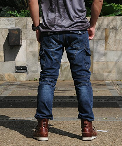 XXL Volero Jeans Da Moto Blu Protezioni Omologate CE Ginocchia e Bacino