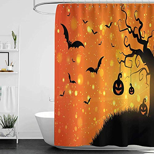 homecoco Shower Curtains Outdoors Halloween,Magical Fantastic Evil Night Icons Swirled Branches Haunted Forest Hill,Orange Yellow Black W48 x L84,Shower Curtain for Bathroom -