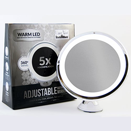 "LED Makeup Mirror - Adjustable 5x Magnification Lighted Makeup Mirror Vanity. Warm LED Tap Light Bathroom Mirror with Powerful Rotating, Locking Suction. 6"" Wide. Wireless & Compact as Travel Mirror"
